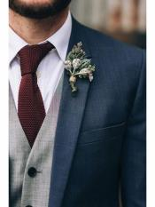 Navy Blue Suit With Grey Vest 3 Piece Suits Wool Cheap Discounted Suit
