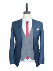 Navy Blue Vested 3