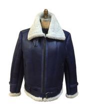 Blue Shearling Zipper Closure