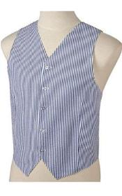 ID#JR72W navy blue colored and White Stripe ~ Pinstripe Striped Summer seersucker Pattern Wedding Vest For Groom and Groomsmen Combo