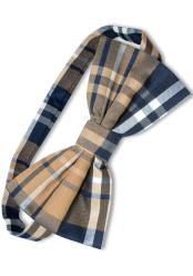 Polyester Navy/Brown/White Plaid Pattern