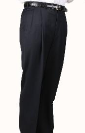ID#OZ3075 Navy, Parker, Pleated creased Pants Lined Trousers
