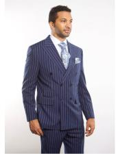 ID#DB22460 Navy Double Breasted Peak Lapel Striped Pattern Suit