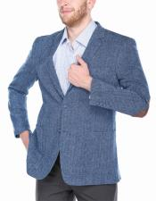 ID#DB23798 2 Button  Navy~Light Blue 100% Wool Best Cheap Blazer Suit Jacket For Affordable Cheap Priced Unique Fancy For Men Available Big Sizes on sale Men Affordable Sport Coats Sale