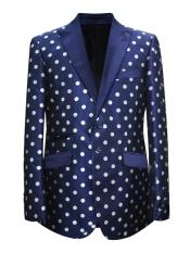 ID#DB24624 Navy ~ White 2 Button Polka Dot Pattern Design Sport Coat Blazer ~ Suit Jacket