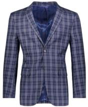 ID#DB24407 2 Button Slim Fit Navy Plaid ~ Windowpane ~ Checker Best Cheap Blazer For Affordable Cheap Priced Unique Fancy For Men Available Big Sizes on sale Men Affordable Sport Coats Sale