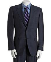 Navy Pinstriped Wool-Mohair 2-Button