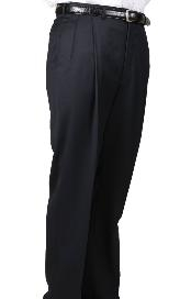 ID#WV9659 Worsted Wool fabric Navy, Parker, Pleated creased Pants Lined Trousers