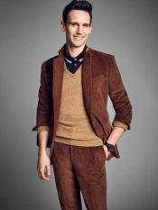 Brown Notch Lapel Velvet