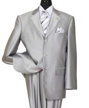 ID#NM735 Men's Silver Notch Lapel Shiny Sharkskin 3 Button Side Vent Suit
