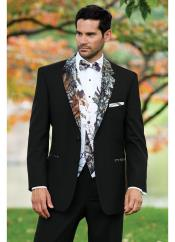 ID#DB17414 Cheap Homecoming Tuxedo Black Camouflage ~ Camo Notch Lapel Vested Tux