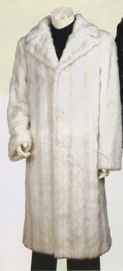 Artificial Fur Coat Off-White Full Length Dress Coat Cheap Priced Available In Big & Tall Sizes Long men's Dress Topcoat -  Winter coat