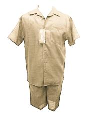 ID#DB18020 Two Piece 100% Linen Off White Shirt And Shorts Casual Walking Set Suit