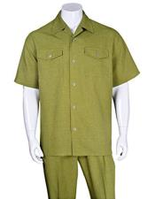 ID#VJ16796 Dark Olive Casual Short Sleeve 2 Pieces Walking Suit With Pleated Pants
