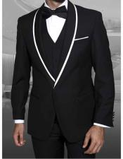 ID#NM14162 Men's Dinner Jacket With Trim Black 1 Button Best Cheap Blazer For Affordable Cheap Priced Unique Fancy For Men Available Big Sizes on sale Men Shawl Lapel With Trim Affordable Sport Coats Sale