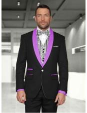 Button Black/Lavender Shawl Lapel