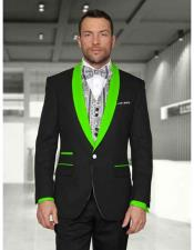 Button Black/Limegreen Shawl Lapel