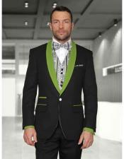 1 Button Black/Olivegreen Shawl Lapel Modern Fit Vested Tuxedos