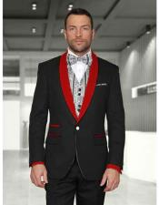 Button Black/Red Shawl Lapel
