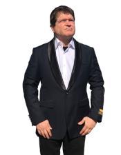 1 Button Satin Shawl Lapel Black Suit