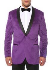 ID#NM14 Purple 1 Button Shawl Lapel Black Velvet Two Toned With Black Lapel Best Cheap Mens Blazer Suit Jacket For Affordable Cheap Priced Unique Fancy For Men Available Big Sizes on sale Men Affordable Sport Coats Sale