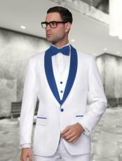 ID#SP24976 One Button Cheap Fashion Big and Tall Large Man ~ Plus Size Plus Size Royal Blue Shawl Lapel Sport Coats White