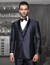 ID#AC-294 One Button Classic Shawl Collar Suit Prom ~ Wedding Groomsmen Tuxedo / Graduation Homecoming Outfits With Trim On The Collar Superior fabric 150'S Extra Italian Fabric Wynn-Blue