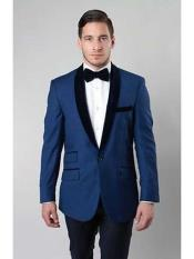 ID#NM353 Men's 1 Button Satin Shawl Collar Two Tone Velvet Slim Fit Deep Light Blue Perfect for wedding  Blazer Suit Jacket