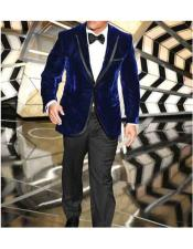 Button Blue Velvet Suit