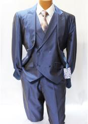 ID#VJ15433 1 Button 70% Polyester 30% Rayon Shark Skin 3 ~ Three Piece Vested Suit Blue