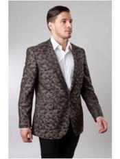 ID#VJ15198  1 Button Pattern Jacket Slim Fit Camouflage Best Cheap Blazer For Affordable Cheap Priced Unique Fancy For Men Available Big Sizes on sale Men Brown Affordable Sport Coats Sale