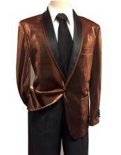 ID#DB22873 Shiny 1 Button Shawl Collar Brown ~ Rust Tuxedo Sport Coat Jacket  Best Cheap Blazer For Affordable Cheap Priced Unique Fancy For Men Available Big Sizes on sale Men Affordable Sport Coats Sale