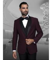 ID#NM1383 Men's Black Shawl Collar Dinner Jacket Lapel Burgundy 1 Button Best Cheap Blazer For Affordable Cheap Priced Unique Fancy For Men Available Big Sizes on sale Men Affordable Sport Coats Sale