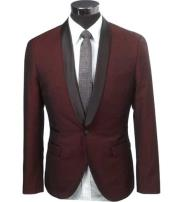 ID#NM185 Slim Fit 1 Button Burgundy Two Toned Black Lapel Satin Shawl Collar Dinner Jacket