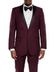 ID#DB23405 1 Button Wedding Burgundy Prom ~ Maroon Wedding Slim Fit Prom ~ Wedding Groomsmen Tuxedo