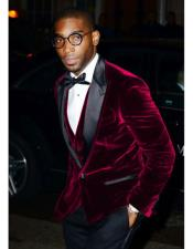 1 Button Burgundy Velvet