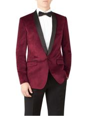 ID#DB23414 1 Button Shawl Lapel Slim Fit Wedding Burgundy Prom ~ Maroon Wedding Velvet Prom ~ Wedding Groomsmen Tuxedo