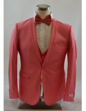 ID#DB23198 Coral 1 Button 3 ~ Three Piece Inexpensive ~ Cheap ~ Discounted Clearance Sale Extra Slim Fit Suit