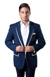 ID#DB16138 1 Button Slim Fit Dark Blue Tazio Best Cheap Blazer Suit Jacket For Affordable Cheap Priced Unique Fancy For Men Available Big Sizes on sale Men Affordable Sport Coats Sale