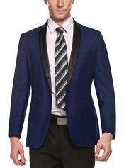 Dark Blue Shawl Lapel 1 Button Slim Fit Stylish Casual Business Blazer Suit Jacket