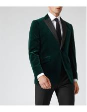 1 Button  Dark Green Slim-Fit Velvet Blazer Suit Jacket