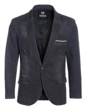 ID#DB23445 1 Button  Denim Black Slim Fit Best Cheap Blazer For Affordable Cheap Priced Unique Fancy For Men Available Big Sizes on sale Men Affordable Sport Coats Sale