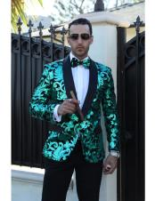 ID#DB23247  Sequin Glitter 1 Button Double Vent Fashionable Green Blazer Suit Jacket