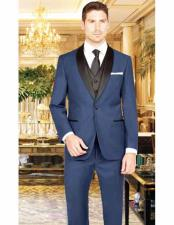 ID#VJ15804 French Blue  Suit Shawl Lapel 1 Button Vest Prom ~ Wedding Groomsmen Tuxedo