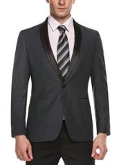 ID#SP24997 One Button Closure Cheap Fashion Jackets Blazer For Guys Grey  Big and Tall Large Man ~ Plus Size Plus Size Sport Coats