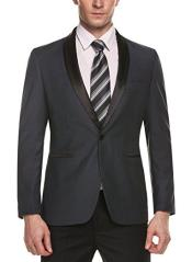 Button Shawl Lapel Grey