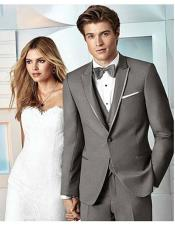 ID#DB22860 1 Button Satin Trim Grey Tuxedo