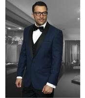 ID#NM1380 Men's Black 1 Button Indigo Shawl Collar Dinner Jacket Lapel Best Cheap Blazer For Affordable Cheap Priced Unique Fancy For Men Available Big Sizes on sale Men Affordable Sport Coats Sale