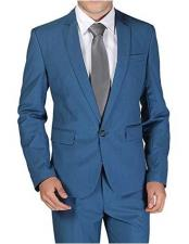ID#VJ14811 Single Breasted 1 Button Royal ~ Cobalt ~ Indigo ~ Teal Blue Notch Lapel Wool Blend Slim Fit Suit