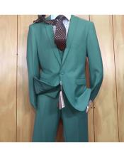 ID#KO19117 One Button Single Breasted style Peak Lapel Vested Slim fitted Jade Suit
